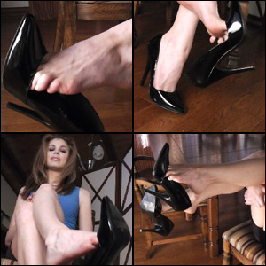 Candle Dangling her Black Pumps