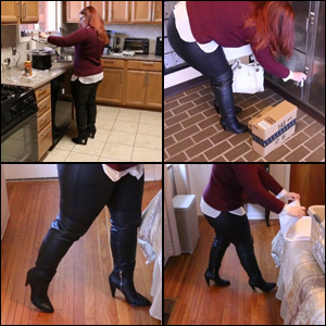 Scarlet Wearing Black OTK Boots & Leather Leggings for Errands