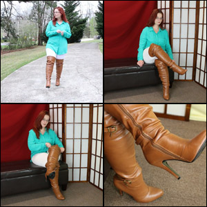 Scarlet in Tan OTK Boots over White Leggings