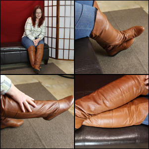 Scarlet in Flat Brown Boots for our Surprise Date