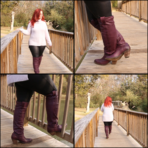 Scarlet at the Bridge in Purple OTK Boots