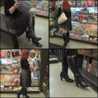 Scarlet in Black High-Heeled Boots at the Book Store