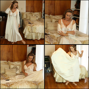 assanta in White Silk Nightgown