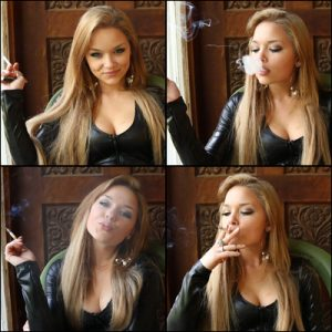 Natasha Smoking in Black Leather Top