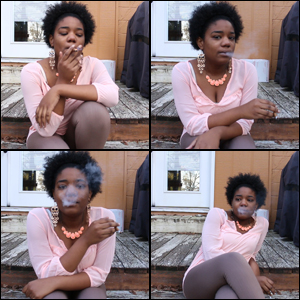 Hazel Smoking in Pink Top & Dangly Earrings