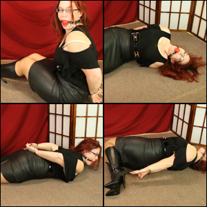 Scarlet Ballgagged, Handcuffed & Struggling