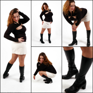 Picture Set: Jeanell in Black Knee Boots