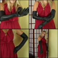 Sugar Momma Wearing Black Leather Gloves with Red Dress