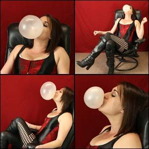 Rae Blowing Bubbles in Corset & Boots