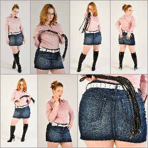 Picture Set: Scarlet in Denim Skirt & Knee Boots