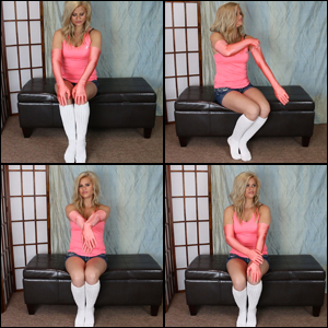 Riley in Peach Satin Gloves & Knee Socks