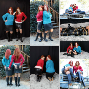 Picture Set: Scarlet & Vivian in Boots & Leather Skirts