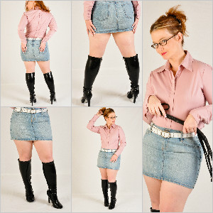 Picture Set: Scarlet in Knee Boots & Light Denim Skirt