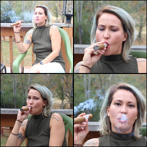Jane Domino Smoking Part of a Cigar
