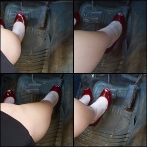 Scarlet Driving in Red Peep-Toe Pumps