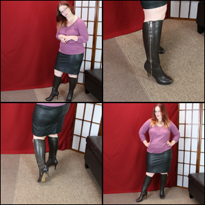 Leather Skirt with Dark Brown Knee Boots