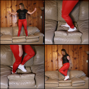 Celeste Walking & Bouncing on Leather Sofa in Leather Outfit