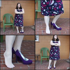 Jeanell Dipping in Purple Pumps
