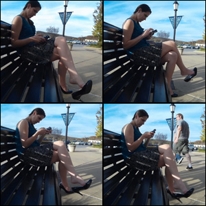 Addie Juniper Dangling Black Pumps on Public Bench