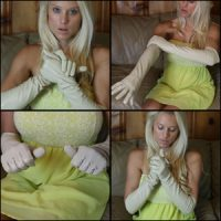 Brooke in Cream-Colored Squeaky Leather Gloves