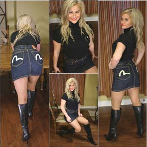 Picture Set: Riley in Denim Skirt & Knee Boots