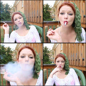 Jamie Lynn Smoking with Scarf in Hair