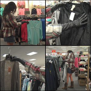 Britney Shopping in Black Leather Gloves