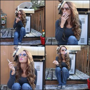 Gina Smoking in Gray Top & Sunglasses