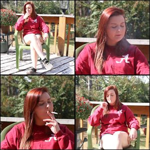 Kimmie Smoking in Red Sweatshirt
