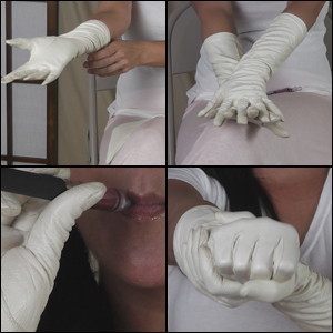 Damara Shows off White Leather Gloves