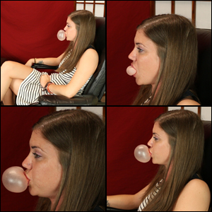 Side Profile of Kristen Blowing Bubbles