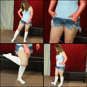 Daisy in Peach Satin Gloves & Knee Socks