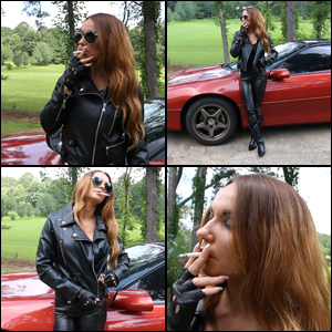 Gina Smokes While Decked out in Leather