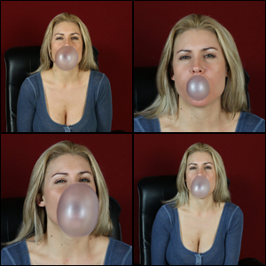 Raquel Derek Blowing Bubbles in Blue Shirt