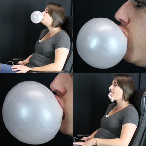 Rae Blowing Bubbles in Gray T-Shirt: Side View