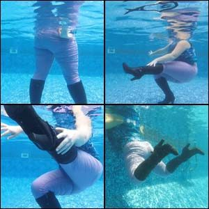 Pool Fun in Purple Pants & Black High-Heel Boots