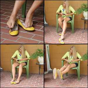 Sugar Momma Shoe Dipping in Yellow Ballet Flats