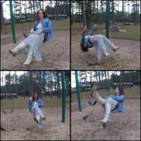 Swinging in the Park in Cream-Colored Knee Boots