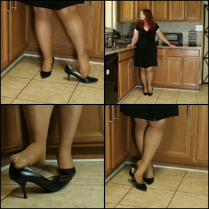 Scarlet Shoe Dipping in Tan Pantyhose & Heels