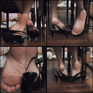 Star Dipping in Black Slingback Pumps