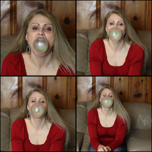 Sugar Momma Blowing Green Bubbles in Red Shirt