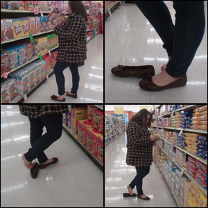 Jeanell Dipping in Flats at the Grocery Store