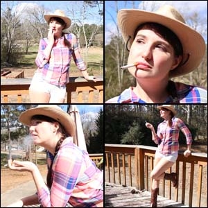 Paige Practicing Smoking in Daisy Dukes & Cowgirl Boots