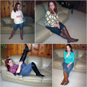 Picture Set: Scarlet in 4 Pairs of Flat Boots