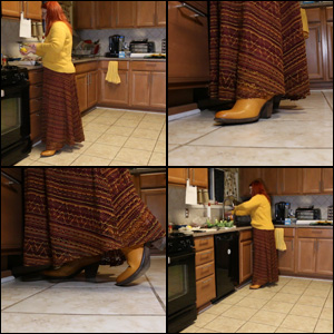 Yellow Frye Boots with Really Long Skirt