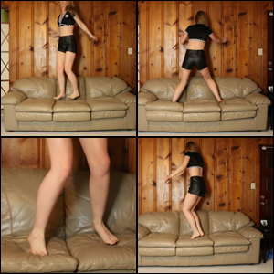 Cassandra Jumping on Sofa Barefoot in Leather Shorts