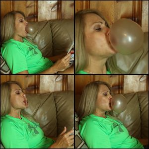 Sugar Momma: Side Profile of Bubbles in Green Shirt