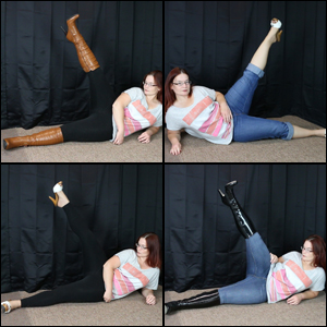 Scarlet Leg Exercises in 3 Pairs of Boots & 1 Pair Sandals