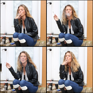 Laney Smoking in Boots & Leather Jacket