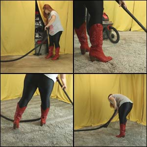 Vacuuming Studio Area in Spandex Pants & Red Cowgirl Boots